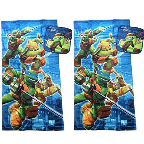 TMNT Teenage Mutant Ninja Turtles Towel Set Bath Bathroom Decor Accessories 2 Bath Towels, 2 Washcloths