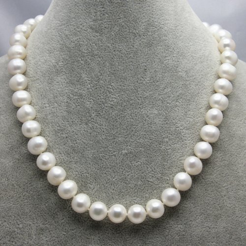 Elegance Jewellery Round 11-12mm 45cm Baroque Freshwater Cultured White Pearl Necklace AA Grade For Women