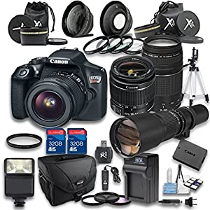 Canon EOS Rebel T6 Digital SLR Camera with EF-S 18-55mm f/3.5-5.6 IS II Lens + Canon EF 75-300mm f/4-5.6 III Lens + 650-1300mm f/8-16 Manual Focus Lens - International Version (No Warranty)