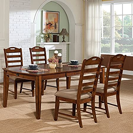 Home Source 50902121 5-Piece Hartford Collection Asian Hardwood Dining Set, 30 by 78 by 40-Inch, Oak/Cappuccino