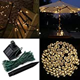 Audew Solar Powered Outdoor LED String Light, 55ft 17m 100 LED Solar Fairy String Lights for Patio, Garden, Christmas, Party, Wedding Warm White