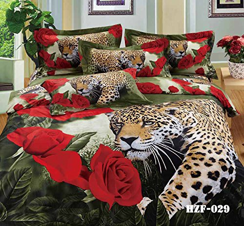 Queen King Size 100% Cotton 7-Pieces 3D Red Roses Leopard Animal Green Floral Prints Fitted Sheet Set With Rubber Around Duvet Cover Set/Bed Linens/Bed Sheet Sets/Bedclothes/Bedding Sets/Bed Sets/Bed Covers/ Comforters Sets Bed In A Bag (King) front-1015622