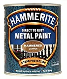 New 2014 Hammerite Hammered Direct To Rust Metal Paint Copper 750Ml