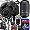 "Nikon D5300 24.2 MP CMOS Digital SLR Camera with 18-55mm f/3.5-5.6G ED VR II AF-S DX NIKKOR Zoom Lens & Nikon AF-S NIKKOR 55-300mm f/4.5-5.6G ED VR Zoom Lens (Black) (1522) with Ultimate Accessory Bundle Kit includes 32GB SD Memory Card + Bower SFD728 Automatic Flash + SD Card Reader + 60"" Tripod + Travel Backpack + HDMI Cable + (2) Extra Battery + Charger + 52MM 5 Piece Filter Set + Shutter Remote Control + 2.2x Telephoto AF Lens + .43x Wide Angle Panoramic Macro Fisheye Lens + Lens Hood + Leat"