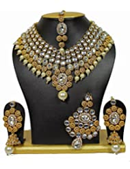 Latest Bollywood Designer Kundan Necklace Set With Maang Tika & Pasa 5 Pcs In Gold Color By Shining Diva