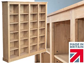 Solid Pine Bookcase, 6ft Tall x 6ft Wide Contemporary Handcrafted & Waxed Multi-Display Library Display Shelving Unit. Choice of Colours (BBK0C3)