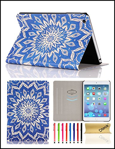 iPad Mini Case, Mini 2/3 Case, Dteck(TM) Slim Fit Lightweight PU Leather Flip Folio Stand Case with Auto Wake/Sleep Function Smart Cover for Apple iPad Mini 3/2/1 (Blue Flower) (Ipad Mini Smart Case Leather compare prices)