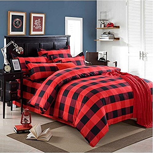 """Ttmall Twin Full Size Cotton 4-pieces Black Red Plaid Prints Duvet Cover Sets (Queen, 4pcs Without Comforter-27)"""