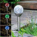 HS Outdoor Landscape Pond Garden Lights Color Changing Solar Glass Ball Fixture, 1-Pack