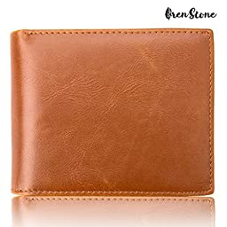 Oren Stone RFID Blocking Synthetic Leather Wallet for Men- Flipout ID, Travel Bifold, Excellent Credit Card Protector