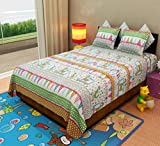 Home Candy Circus Parade Kids Cotton Double Bedsheet with 2 Pillow Covers - Multicolor