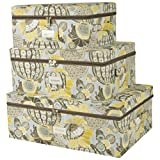 Waverly - Set Of Three Canvas Storage Bins With Zipper Lids - Decorative Storage Boxes - Storage Bins With Lids - Vintage - Floral - Geometric (Yellow)