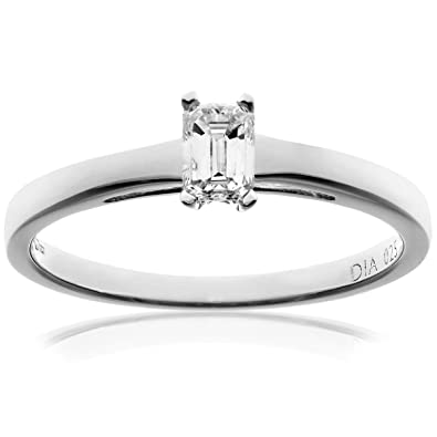 Naava 18ct White Gold Engagement Ring, J/I1 Certified Diamond, Emerald Cut
