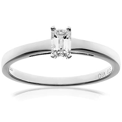 Naava 18ct White Gold Engagement Ring, J/I1 Certified Diamond, Emerald Cut