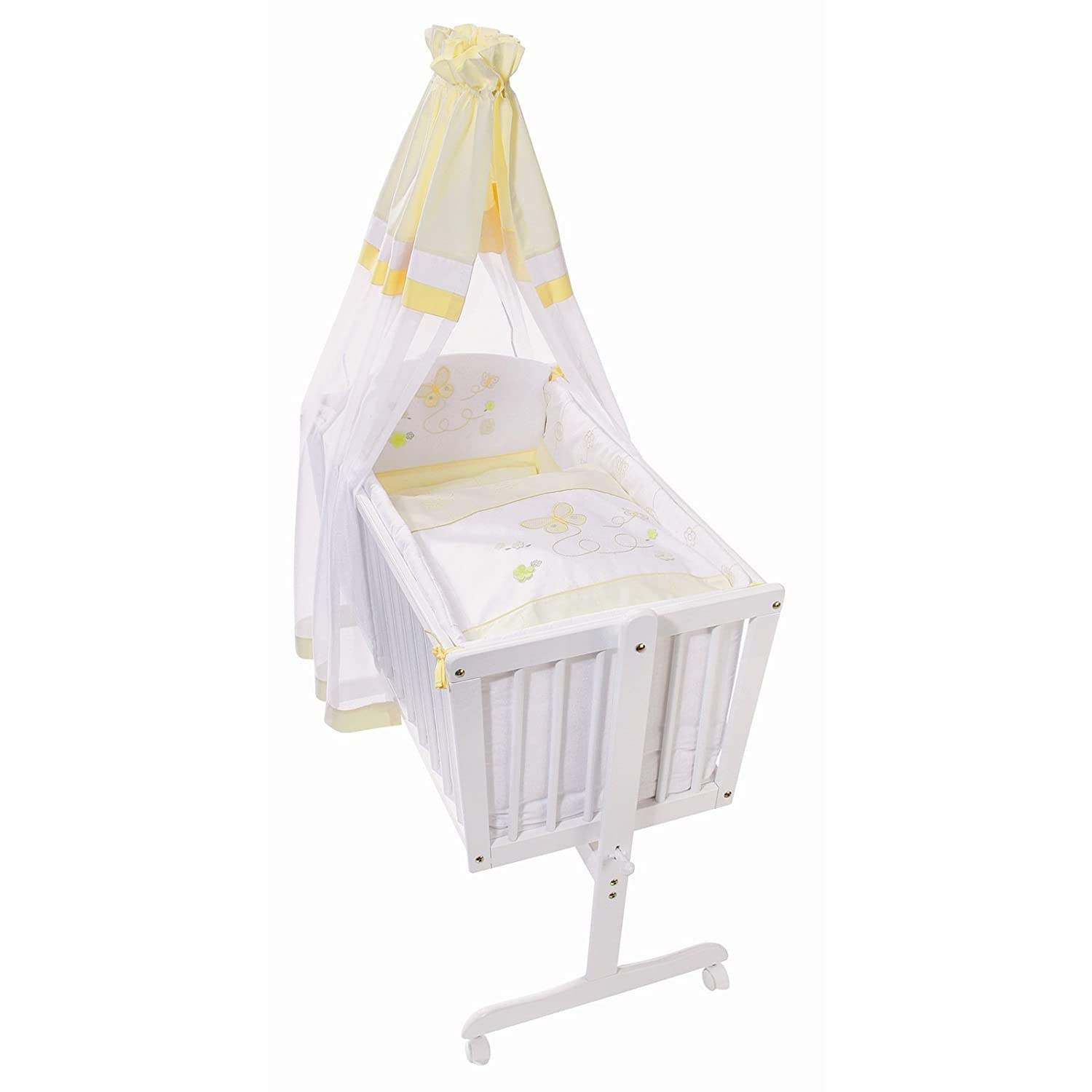 Easy Baby Wiege Komplettset natur, Butterfly yellow 181-86