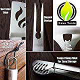 BBQ Grill Tools Set - Heavy Duty 20% Thicker Stainless Steel - Professional Grade Barbecue Accessories - 3 Piece Utensils Kit Includes Spatula Tongs & Fork by Cave Tools