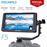 FEELWORLD F5 DSLR DE 5 PULGADAS EN LA CÁMARA MONITOR DE CAMPO PEQUEÑO FULL HD 1920X1080 IPS, Video Peaking Focus Assist con 4K HDMI 8.4V DC Entrada Salida Incluye brazo de inclinación