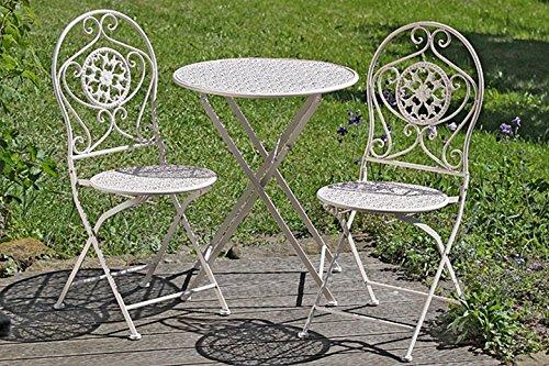 3er Set Gartenmöbel runder Eisentisch Eisenstuhl Metallgruppe beige