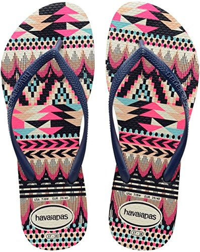 Havaianas Slim Tribal Infradito, donna, Multicolore (WHITE/NAVY BLUE 0052), 39/40