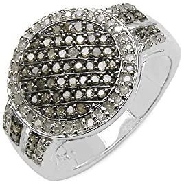 Malaika Sterling Silver 1/2ct TDW Champagne and White Diamond Ring (I-J, I3)- Size 7