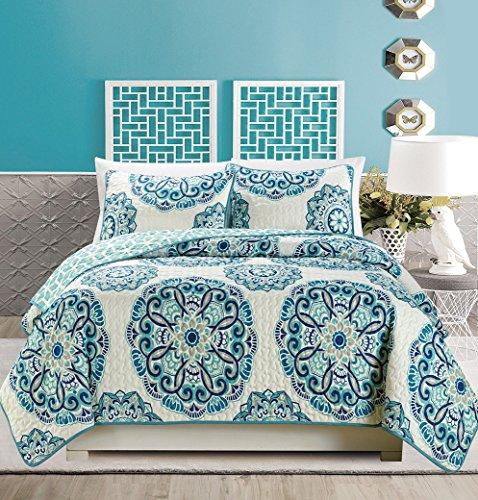 3 Piece Fine Printed Quilt Set Reversible Bedspread