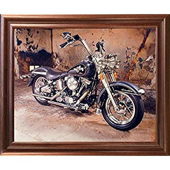 Harley Davidson Black Motorcycle Mahogany Framed Picture Art Print (18x22)