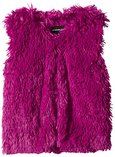 My Michelle Big Girls' Collarless Faux Fur Vest, Fuchsia, X-Large