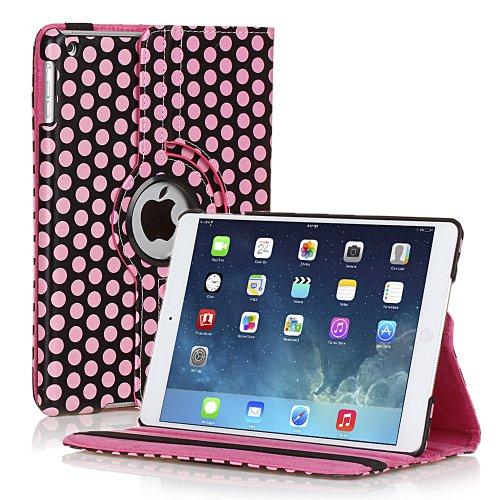 TNP iPad Mini Rotating Case (Polka Dot Pink) 360 Degree Stand Smart Cover Flip Protective PU Leather For iPad Mini 3, iPad Mini 2 & 1, Multi Viewing Angles, Auto Sleep & Wake Feature & Stylus (Pretty Tweens)