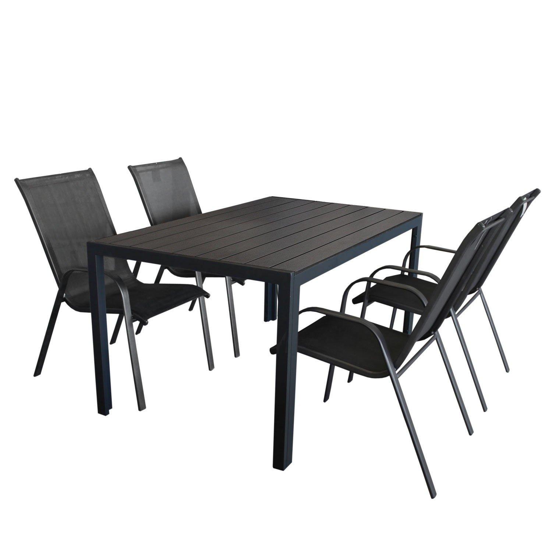 5tlg. Gartengarnitur Aluminium Polywood Gartentisch in Schwarz 150x90cm + Stapelstuhl mit Textilenbespannung Sitzgruppe Sitzgarnitur Terrassenmöbel jetzt bestellen