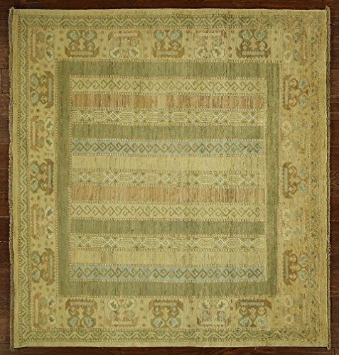 New 6' Square Pakistani Peshawar Multi-Color Chobi Hand Knotted Wool Rug H6048 front-594218