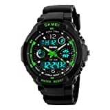 Kids Sport Watch Multi Function Digital LED 50M Waterproof Electronic Analog Quartz Watches for Boys Gift (Color: Green, Tamaño: 931)