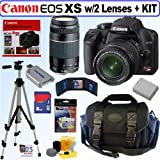 61bNGFmGVyL. SL160  Canon EOS Digital Rebel XS 10.1MP Digital SLR Camera (Black) with EF S 18 55mm f/3.5 5.6 II Lens and EF 75 300mm f/4 5.6 III Telephoto Zoom Lens + 8GB Deluxe Accessory Kit