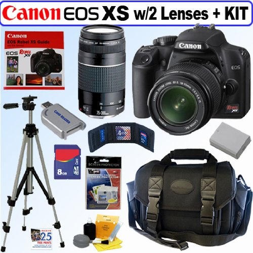 Canon EOS Rebel XS - Digital camera - SLR - 10.1 Mpix - Canon EF-S 18-55mm IS and EF 75-300mm lenses - optical zoom: 3 x - supported memory: SD, SDHC - black