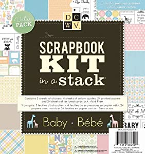 Die Cuts With A View Scrapbook Kit in a Stack, Baby 2, 8 by 8-Inch