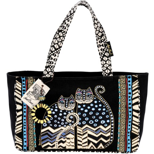 laurel-burch-medium-tote-with-zipper-top-spotted-cats