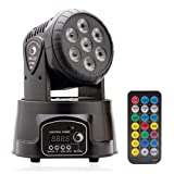 U`King Moving Head Light 7x10W LED RGBW (4 in 1) Color Lighting Effect 9/14 CH by DMX Control and IR Remote for DJ Show Bar Party Wedding Disco KTV (Color: black, Tamaño: Moving Head Light)
