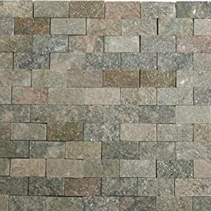 "Stone Mosaic Tile Backsplash 1""x2"" Shine Slate Subway Tile Mosaic 12"