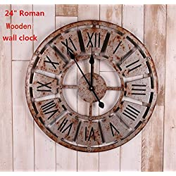 24 Handmade Oversized 3d Retro Rustic Decorative Luxury Art Big Wooden Vintage Large Wall Clock on the Wall for Gift (24(58*58cm), Roman Numerals Rusted Iron)