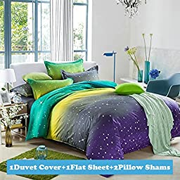Ttmall Twin Full Queen Size Cotton 4-pieces Fluorescence Green Yellow Gray Lavender White Polka Dot Starry Sky for Teens Boys Girls Prints Duvet Cover Sets (Twin, 1duvet Cover+1flat Sheet+2pillowcases-26)