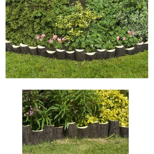 Log effect edging garden border set of 3 for Log garden edging