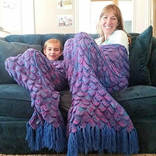 Mermaid Blanket with Scales (Adult, Purple)