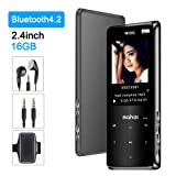 MP3 Player with Bluetooth 4.2 Jimwey 16GB Portable Lossless Digital Music Player with Earphone Armband 2.4-Inch Screen FM Radio Recorder Video Player Text Reading, Built-in Speaker, Touch Button (Color: 2.4-Inch Black)