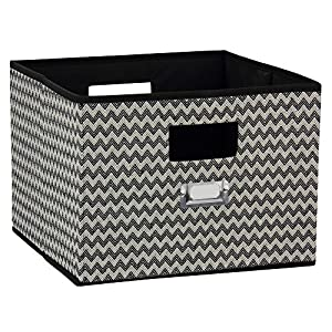 Household Essentials Open Storage Bin, Black Chevron