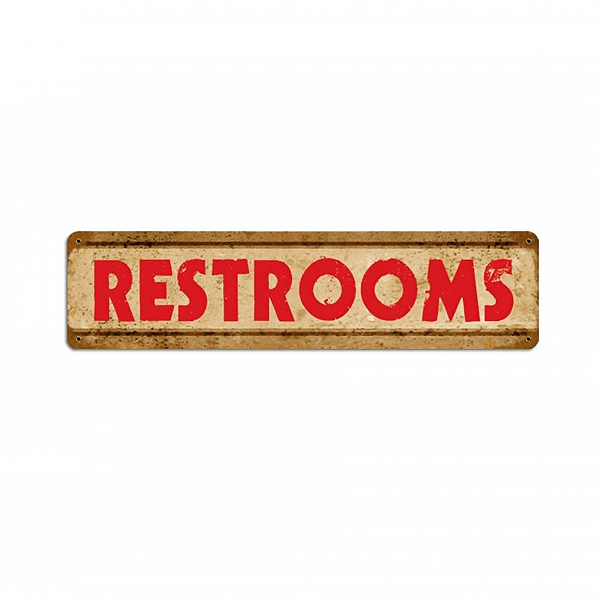 Large Metal Restrooms Sign
