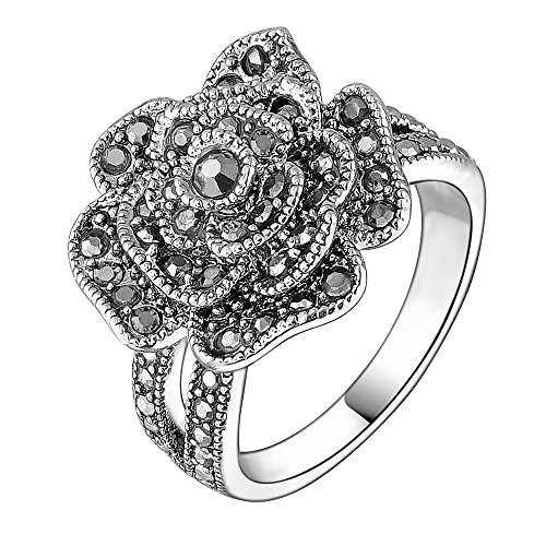 Mytys Retro Vintage 18k White Gold Plated Black Marcasite Flower Crystal Ring(6) (Black Rings For Teens compare prices)