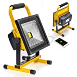 20W LED Work Light Portable Rechargeable Battery Operated Dimmable Camping Lights with Power Indicator for Outdoor Lighting,IP65 Waterproof,Flood Light (Color: 20watt 4-6hrs Running Time)