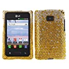 Fincibo (TM) LG Optimus Logic L35g Dynamic L38c Bling Crystal Full Rhinestones Diamond Case Protector - Waterfall Yellow