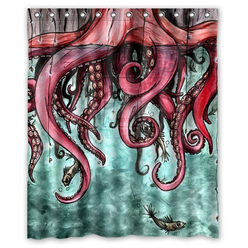 Octopus Abstract Art Waterproof Shower Curtain