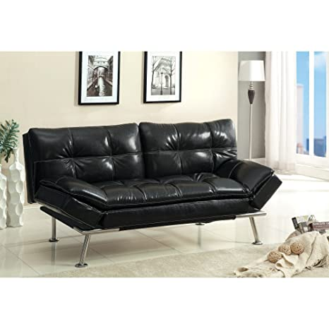Furniture of America Leatherette Convertible Futon with Adjustable Back -
