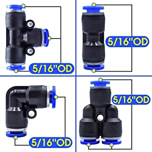 Tailonz Pneumatic Elbow 5//16 inch OD Push to Connect Fittings Tube Connect Fittings PV-5//16 Pack of 10